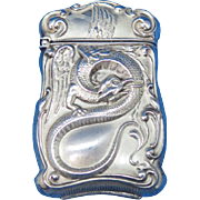 Serpent motif match safe, sterling by F. S. Gilbert, c. 1900, frosted finish