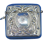 Foliate motif match safe, quartz cabochon. sterling by R. Blackinton, c. 1900