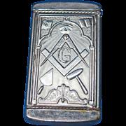 Masonic match safe, insert type by August Goertz & Co., patented Jan 12, 1904