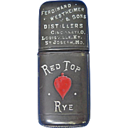 Red Top Rye advertising match safe, c. 1895, gutta percha