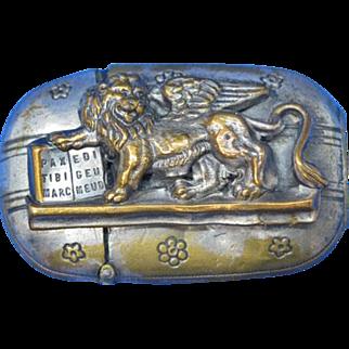 Lion of Saint Mark motif match safe, c. 1890
