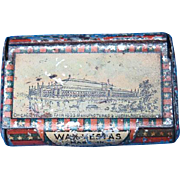 1893 Chicago World's Fair, Manufacturers & Liberal Arts Building, match safe, Bryant & May litho tin, Columbian Exposition