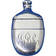 Figural bottle/flask match safe, sterling, c. 1895