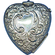 Figural heart shaped match safe, c. 1895, English, nickel plated brass