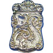 Stylized fish & foliate motif match safe, gold gilted sterling, c. 1900