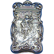 Knight on horseback motif match safe, sterling, c. 1900