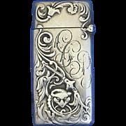 Fox motif match safe, sterling, c. 1900