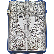 English match safe with engraved foliate motif, shield cartouche, sterling by Deakin & Francis, 1894 Birmingham hallmarks