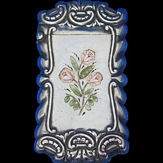 Enamel floral motif, sterling, rococo edge design, c. 1895