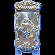 Scroll edge design match safe, sterling by Gorham Mfg. Co., mfg. #B1150, c. 1900