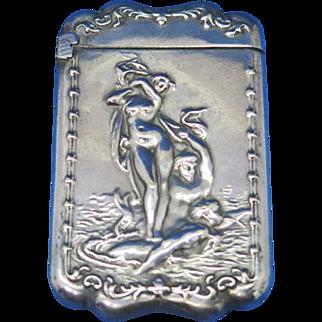 Venus Rising motif match safe by Wm. Schimper Co., G. Silver, c. 1905