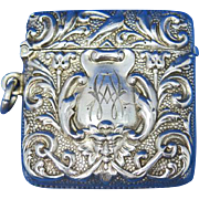 English foliate motif with devil face, match safe by Henry Matthews, Birmingham 1900 sterling hallmarks