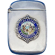 Jamestown Exposition 1607-1907match safe, sterling with enamel crest