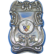 Knights of Pythias match safe, sterling with enameled crest by F. S. Gilbert, c. 1900