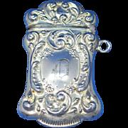 Foliate motif match safe, sterling by F. S. Gilbert, c. 1900