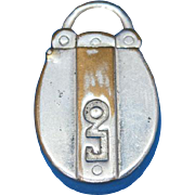 Figural padlock match safe, c. 1890, nickel plated brass