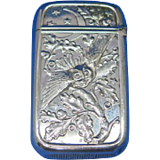 Owl motif match safe, silver plated by Pairpoint Mfg. Co. c. 1895