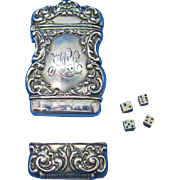 Sterling match safe with dice game compartment, c. 1900