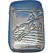 Steeplechase motif match safe, G. Silver, c. 1900