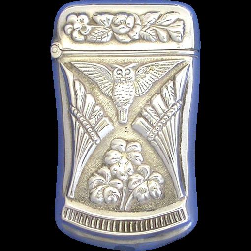 Owl & floral motif match safe, sterling, c. 1900