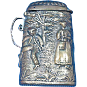 Figural beer stein, tankard, match safe, brass, c. 1890