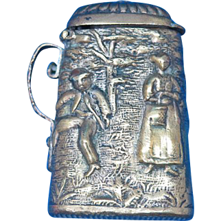 Figural beer stein, tankard, match safe, brass, c. 1890