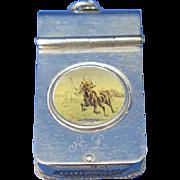 Polo player riding a horse motif match safe, c. 1890