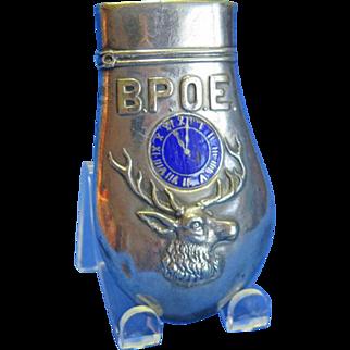 BPOE elk's tooth match safe, blue enamel clock over elk head, Ger. Silver, Pat. Nov. 11, 1899