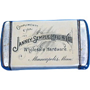 Janney, Semple, Hill & Co., Wholesale Hardware, Minneapolis, Minn. adv. match safe, by Whitehead & Hoag, c. 1902
