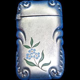 Enamel floral motif match safe with corner designs, G.Silver, Wm. Schimper Co., c. 1895, frosted finish