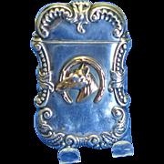 Gold plated good luck horseshoe & horse motif match safe, sterling, c. 1895