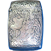 Castle motif match safe, sterling, c. 1900, gold gilted interior