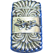 Gecko motif match safe, silver plated, c. 1895