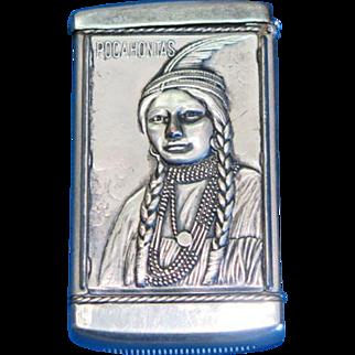 Pocahontas match safe, adv. George Becker, Milwaukee, WI, Buffet & Bowling Alleys, August Goertz, c. 1905