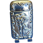 "Match safe with ""The Storm"", copied from the painting by the French artist, Pierre Auguste Cot, nickel plated brass, c. 1890"