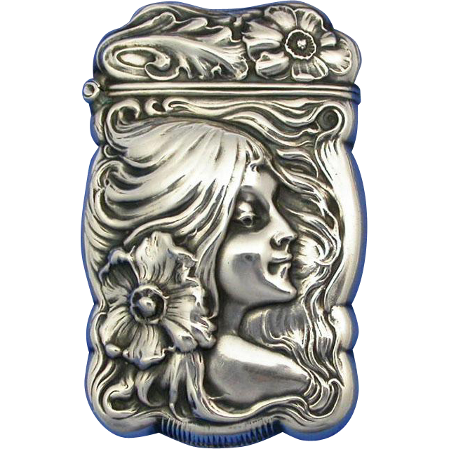 Art Nouveau, young lady with flower in hair, match safe, sterling, c. 1900, by Pairpoint