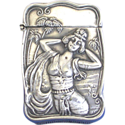 Tropical dancer motif match safe, by Bristol Manufacturing Co., silveroin, c. 1900