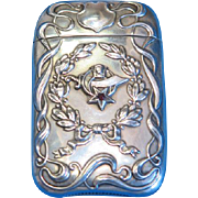 Shriners of North America motif match safe, sterling with garnet stone, L. Fritzsche & Co., c. 1900