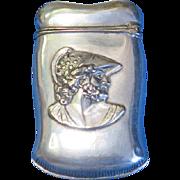 Greek solider motif match safe, silver plated, c. 1890