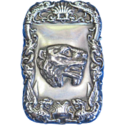 Tiger head and serpents motif match safe, sterling by Alling & Co., c. 1900, bold design