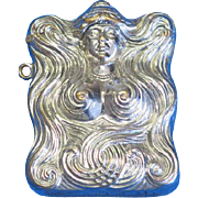 Art Nouveau lady's design match safe, c. 1900, nickel plated brass