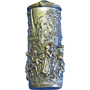 Match safe with raised village motif and people dancing made by the lost wax method, brass, c. 1880