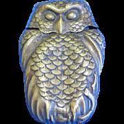 Figural owl match safe, nice brass aged patina, c. 1895