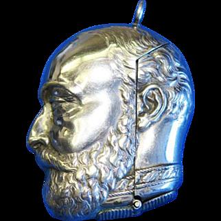 Figural King Edward VII match safe, by Samuel Basnett, Birmingham, c. 1902, silver plated