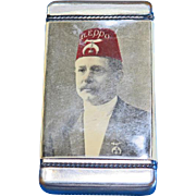 Shriners image - Quennell's Cafe Faneuil Hall Square, Boston, MA match safe, celluloid wrapped, J. E. Mergott, c. 1905