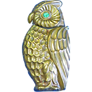 Figural owl match safe, brass with green glass eyes, c. 1890