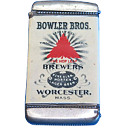 Bowler Bros Brewers, Worchester, Mass. adv match safe, celluloid wrap by Whitehead & Hoag, c. 1905