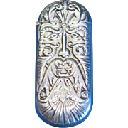 Abstract man's face with long mustache, match safe, silver plate, c. 1895, unusual