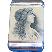 Jas. M. Butler, Mansion House, Keyport, NJ advertising match safe, celluloid wrapped by Whitehead & Hoag, c. 1904