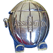 "Figural ""Association"" football match safe, c. 1895, nickel plated"